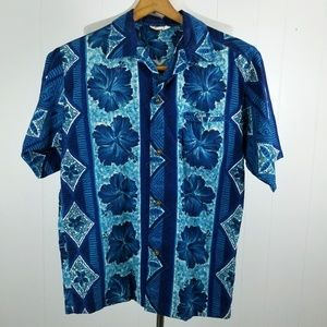 NAPILI Vintage Blue Hawaiian Shirt Retro Aloha